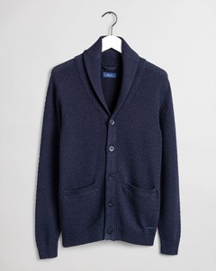 Gant Honeycomb Structure Shawl Cardigan Evening Blue