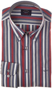 Paul & Shark Stylish Yachting Stripe Shirt Blue-Red