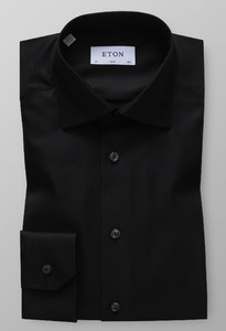 Eton Slim Fit Textured Twill Antraciet Melange