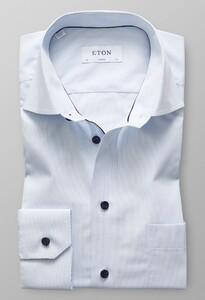 Eton Fine Duo Striped Poplin Avond Blauw