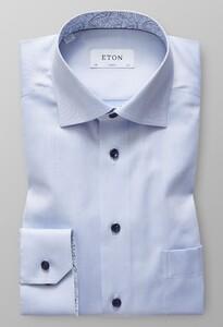 Eton Uni Signature Twill Geometric Detail Licht Blauw