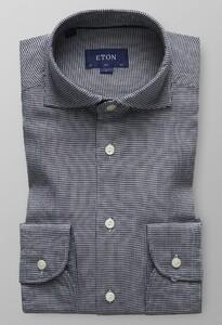 Eton Houndstooth Cotton-Tencel Dark Navy