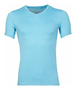 RJ Bodywear Pure Color V-hals T-Shirt Licht Blauw