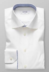Eton Uni Poplin Floral Detail White