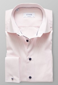 Eton Fine Striped Poplin French Cuff Roze