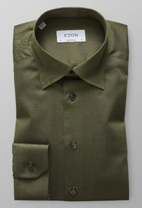Eton Uni Button Under Signature Twill Donker Groen