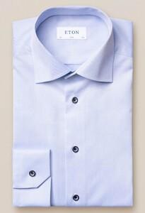 Eton Uni Contrast Button Signature Twill Licht Blauw