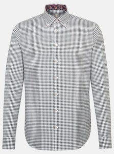 Jacques Britt Check Button Down Grijs Melange