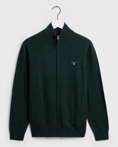Gant Fine Lambswool Zipper Vest Tartan Green Melange