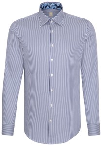 Jacques Britt Striped Hidden Button Down Navy