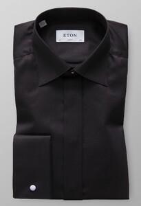 Eton Herringbone Fly Front Evening Zwart