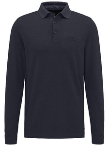 Fynch-Hatton Polo Longsleeve Melange Navy