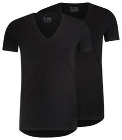 RJ Bodywear 2Pack Everyday Nijmegen Diepe V-Hals T-Shirt Zwart