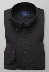 Eton Lightweight Uni Button Down Antraciet Melange