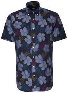 Seidensticker Short Sleeve Floral Fantasy Navy