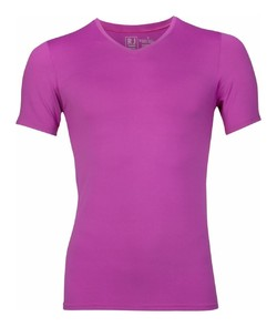 RJ Bodywear Pure Color V-hals T-Shirt Donker Roze