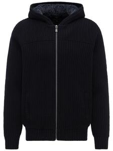 Fynch-Hatton Hooded Cardigan Fur Lining Navy