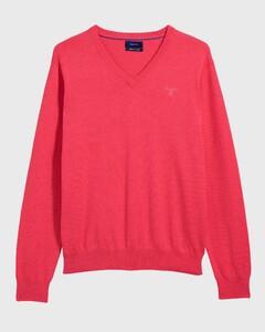 Gant Cotton V-Neck Watermelon Red Melange