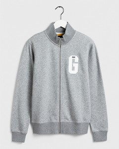 Gant Graphic Zip-Through Sweat Grijs Melange