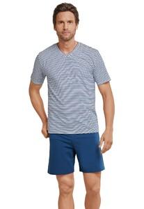 Schiesser Sportsclub Pyjama Kort Donker Blauw