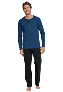 Schiesser Lange Pyjama Ebony Royal Blue
