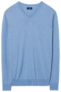 Gant Cotton Cashmere V-Neck Light Blue Melange