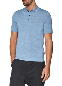 Maerz Faux Uni Polo Pullover Whispering Blue
