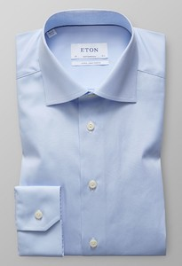 Eton Poplin Uni Mouwlengte 7 Licht Blauw