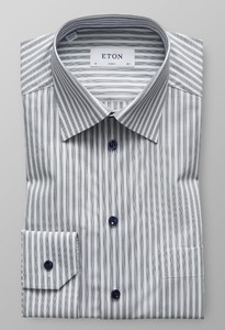 Eton Classic Striped Poplin Grijs