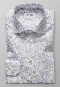 Eton Super Slim Floral Poplin Donker Blauw