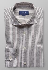 Eton Striped Cotton Linen Diep Bruin