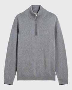 Gant Classic Cotton Half Zip Dark Grey Melange