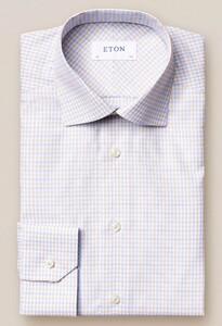 Eton Signature Twill Cotton Tencel Check Gebroken Wit