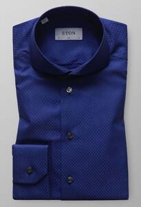 Eton Subtle Check Donker Blauw