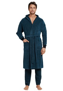 Schiesser Tension Release Bathrobe Petrol