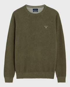 Gant Piqué Sweater Ronde Hals Khaki Green Melange