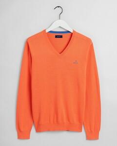 Gant Classic Cotton V-Neck Coral Orange