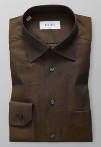 Eton Hidden Button Down Donker Bruin