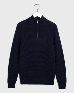 Gant Signature Weave Half Zip Avond Blauw