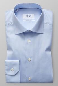 Eton Poplin Slim Mouwlengte 7 Licht Blauw