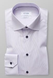 Eton Fine Striped Poplin Contrast Detail Paars Melange