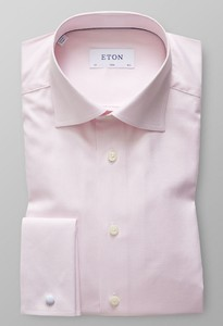 Eton Cotton Tencel French Cuff Zacht Roze Melange