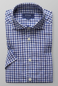 Eton Short Sleeve Gingham Check Diep Blauw