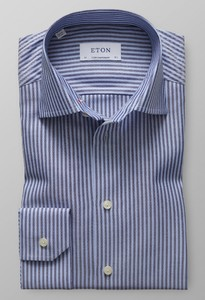 Eton Striped Cotton-Tencel Diep Blauw