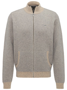 Fynch-Hatton Cardigan Zip Herringbone Almond-Cloudy