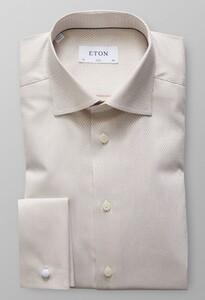 Eton Micro Weave French Cuff Gebroken Wit