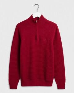 Gant Signature Weave Half Zip Mahonie Rood