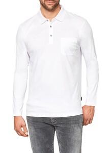 Maerz Uni Cotton Longsleeve Poloshirt Pure White