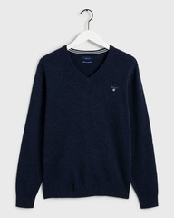 Gant Super Fine Lambswool V-Neck Dark Navy Melange