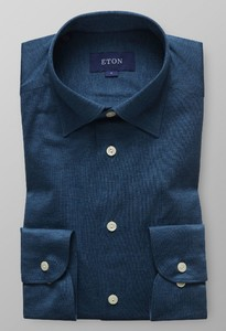 Eton Uni Jersey Button Under Dark Green Melange